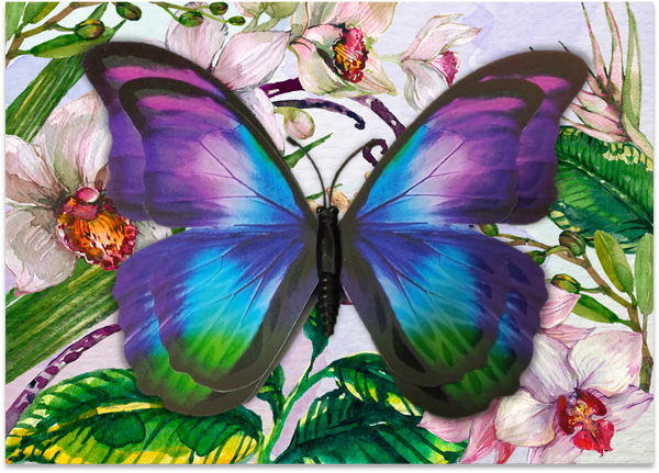 CRD-04 Multi Morpho Butterfly on Orchid Floral