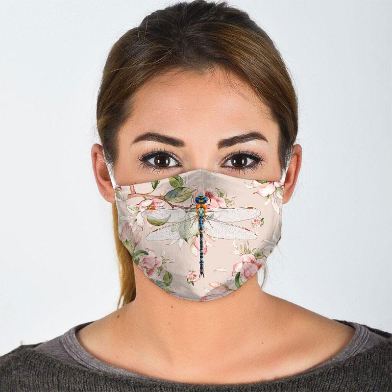 Blush Dragonfly Face Mask