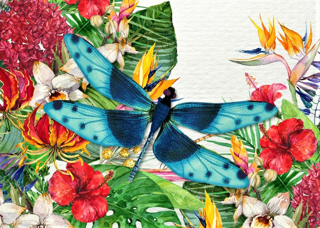 CRD-305 Blue Dragonfly on Tropical Floral
