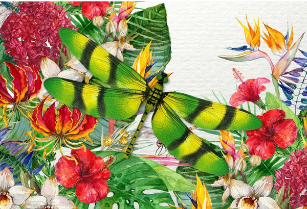 CRD-304 Green Striped Dragonfly on Tropical Floral