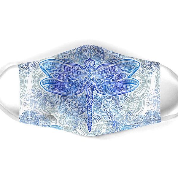 Face Mask - Blue Dragonfly