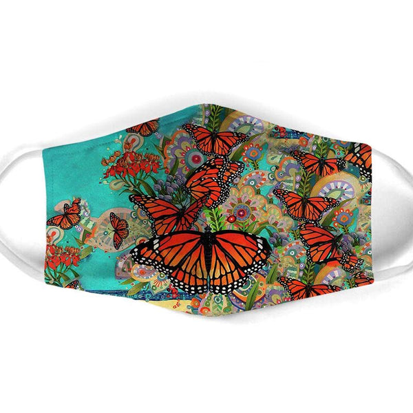 Monarch Butterflies on Turquoise Face Mask