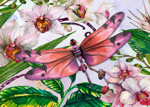 CRD-303 Pink Dragonfly on Orchid Floral
