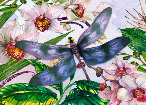CRD-301 Purple Dragonfly on Orchid Floral