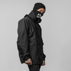 Hooded Coaches Jacket - Black/Black
