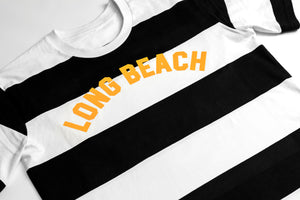 Long Beach Vintage Stripe Tee - Black White Gold