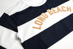Long Beach Vintage Stripe Tee - Navy White Khaki
