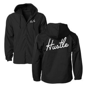 Hustle Hooded Coaches Jacket - Black