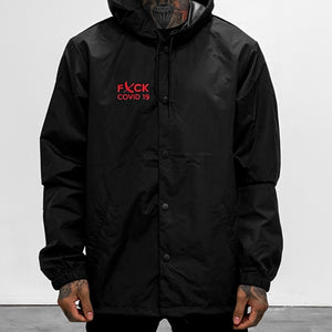 Hooded Coaches Jacket - Black/Red