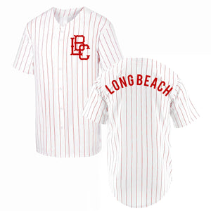 Pinstripe Long Beach Baseball Jersey - Red