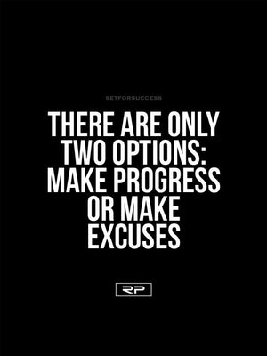 Two Options; Progress or Excuses - 18x24 Poster