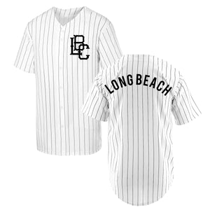 Pinstripe Long Beach Baseball Jersey - Black