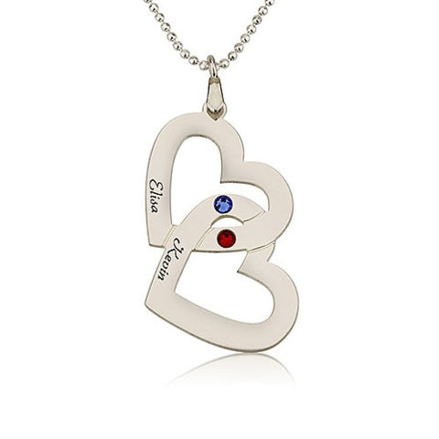 Sterling Silver Personalised Twin Hearts Couple's Name & Birthstones Necklace
