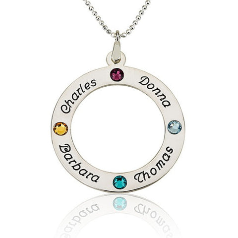Sterling Silver Personalised Name & Birthstone Circle Necklace-4 Names