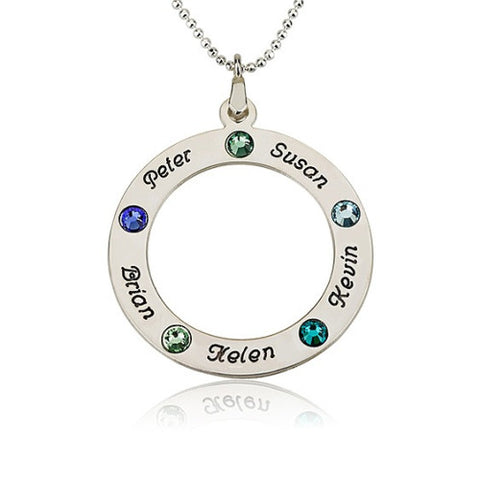 Sterling Silver Personalised Name & Birthstone Circle Necklace -5 Names