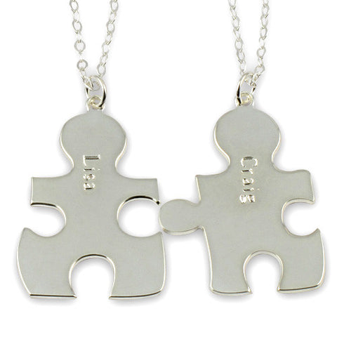 Sterling Silver Personalised Best Friend/Couples Puzzle Necklaces