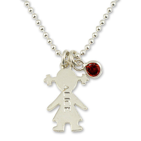 Sterling Silver Girl or Boy Charm & Birthstone Necklace