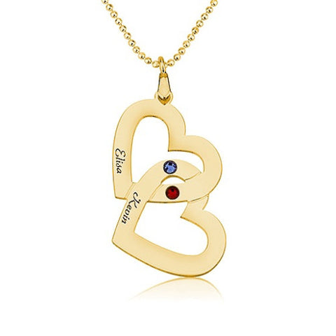 18K Gold Plated Personalised Twin Hearts Couple's Name & Birthstone Necklace