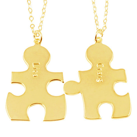 18K Gold Plated Personalised Best Friend/Couples Puzzle Necklaces