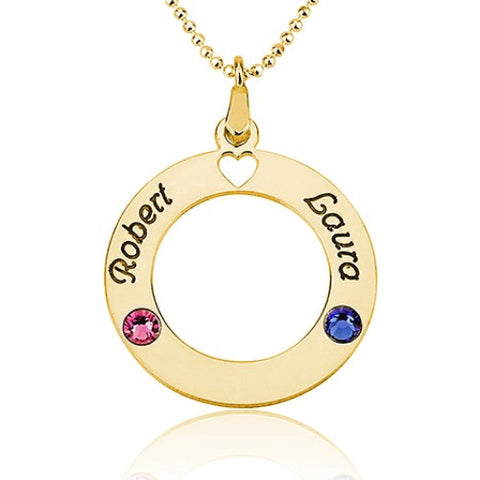 18K Gold Plated Personalised Name & Birthstone Circle Necklace-2 Names