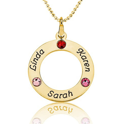 18K Gold Plated Personalised Name & Birthstone Circle Necklace -3 Names