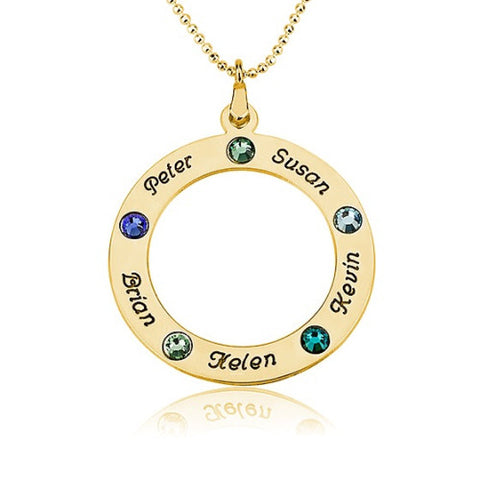 18K Gold Plated Personalised Name & Birthstone Circle Necklace -5 Names