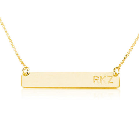 18K Gold Plated Personalised Initials Bar Necklace