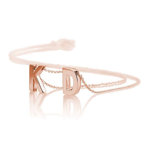 18K Rose Gold Plated Matt Finish Personalised Initials Necklace