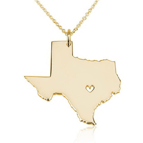 18K Gold Plated State Necklace