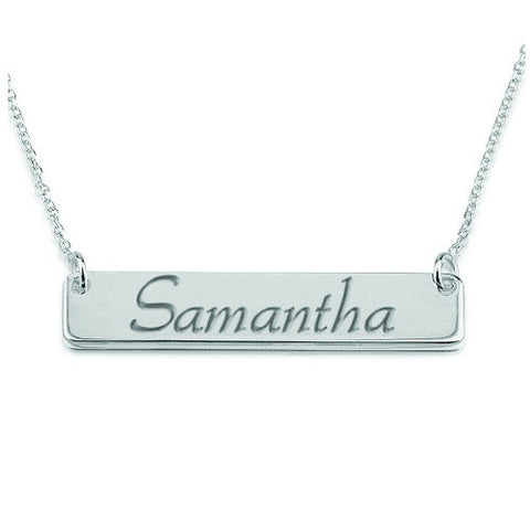 Sterling Silver Personalised Script Bar Necklace