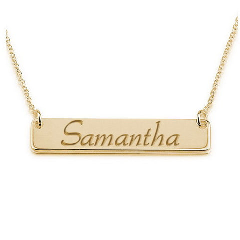 18K Gold Plated Personalised Script Bar Necklace