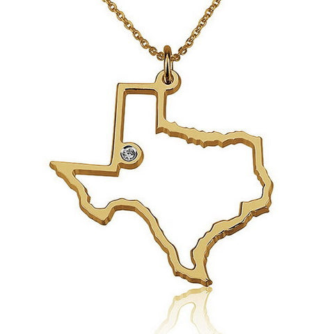 18K Gold Plated State Outline with Stone Necklace