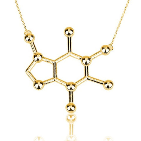 18K Gold Plated Caffeine Necklace