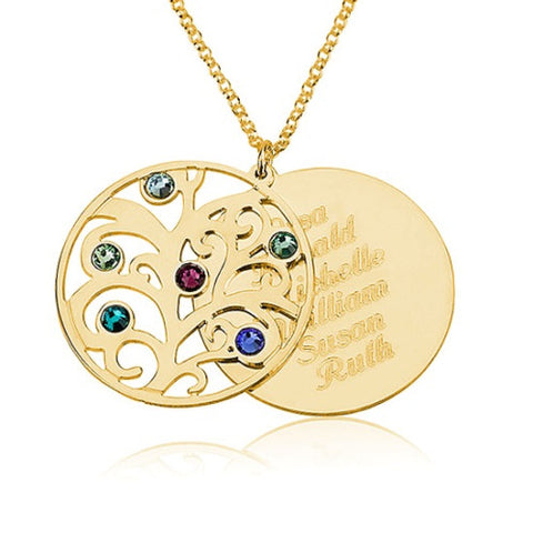 18K Plated Gold Personalised Double Layer Family Tree Necklace