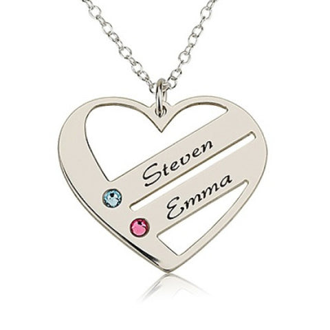 Sterling Silver Personalised Family Heart Necklace- 2 Names