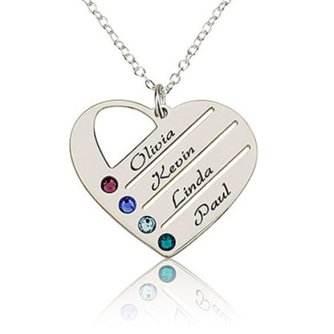 Sterling Silver Personalised Family Heart Necklace- 4 Names