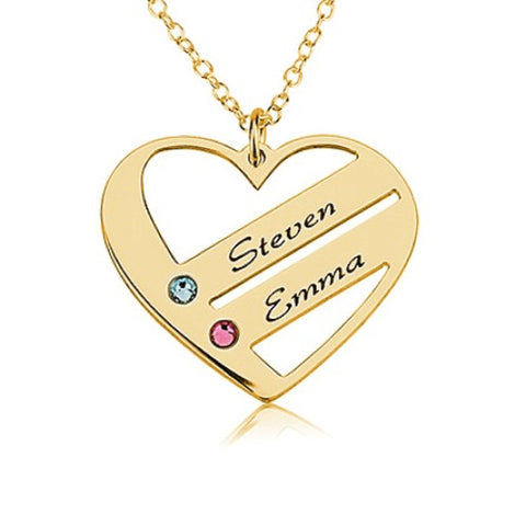 18K Gold Plated Personalised Family Heart Necklace- 2 Names
