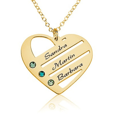 18K Gold Plated Personalised Family Heart Necklace- 3 Names