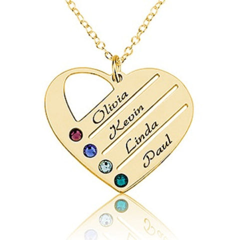 18K Gold Plated Personalised Family Heart Necklace- 4 Names