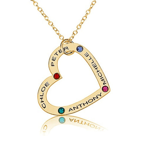 18K Gold Plated Personalised Family Heart Necklace