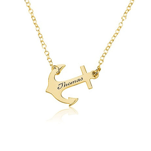 18K Gold Plated Personalised Anchor Necklace