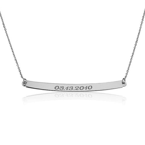 Sterling Silver Personalised Date Bar Necklace