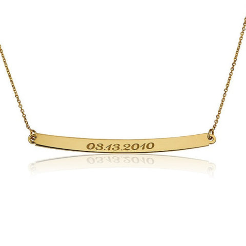 18K Gold Plated Personalised Date Bar Necklace