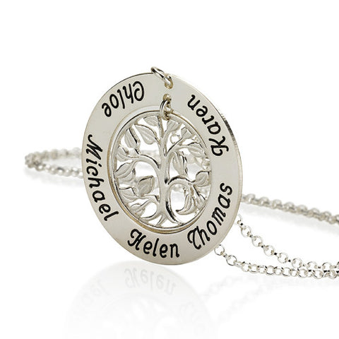 Sterling Silver Personalised Family Tree Necklace