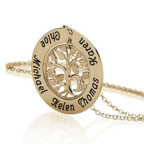 18K Gold Plated Personalised Family Tree Necklace