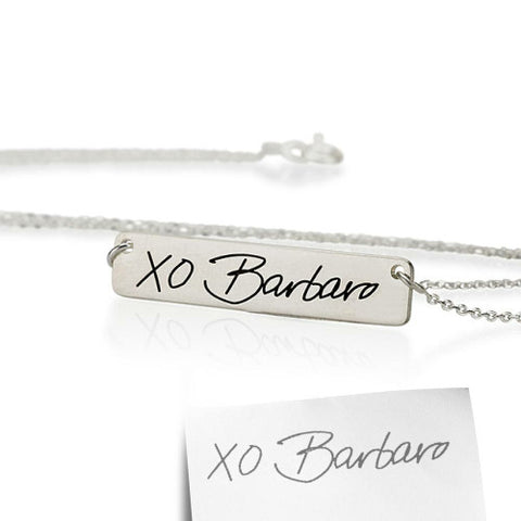Sterling Silver Personalised Signature/ Handwriting Bar Necklace