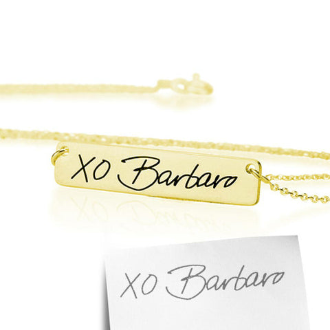 18K Gold Plated Personalised Signature/ Handwriting Bar Necklace