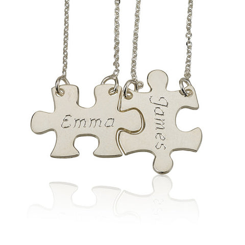 Sterling Silver Personalised Couples/Friendship Puzzle Necklace