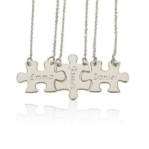 Sterling Silver Personalised Friendship Puzzle Necklaces-3 Names
