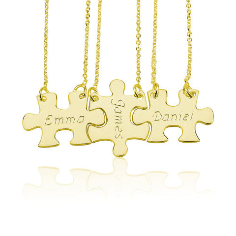 18K Gold Plated Personalised Friendship Puzzle Necklaces-3 Names